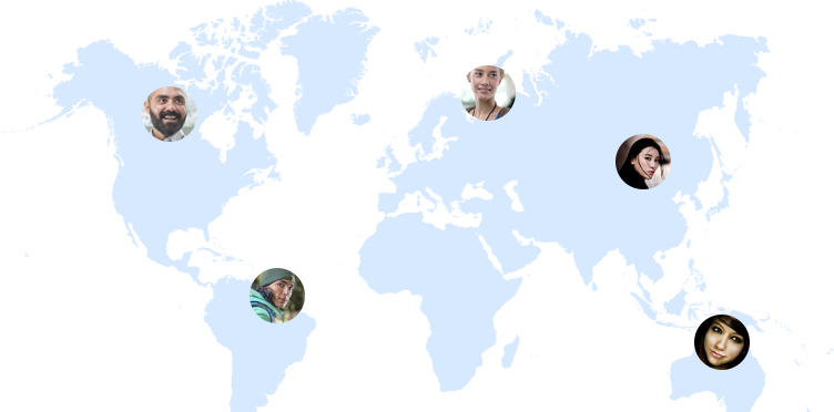Map over the world showing that findroommate has roommates from all over the world searching for a room in Denmark